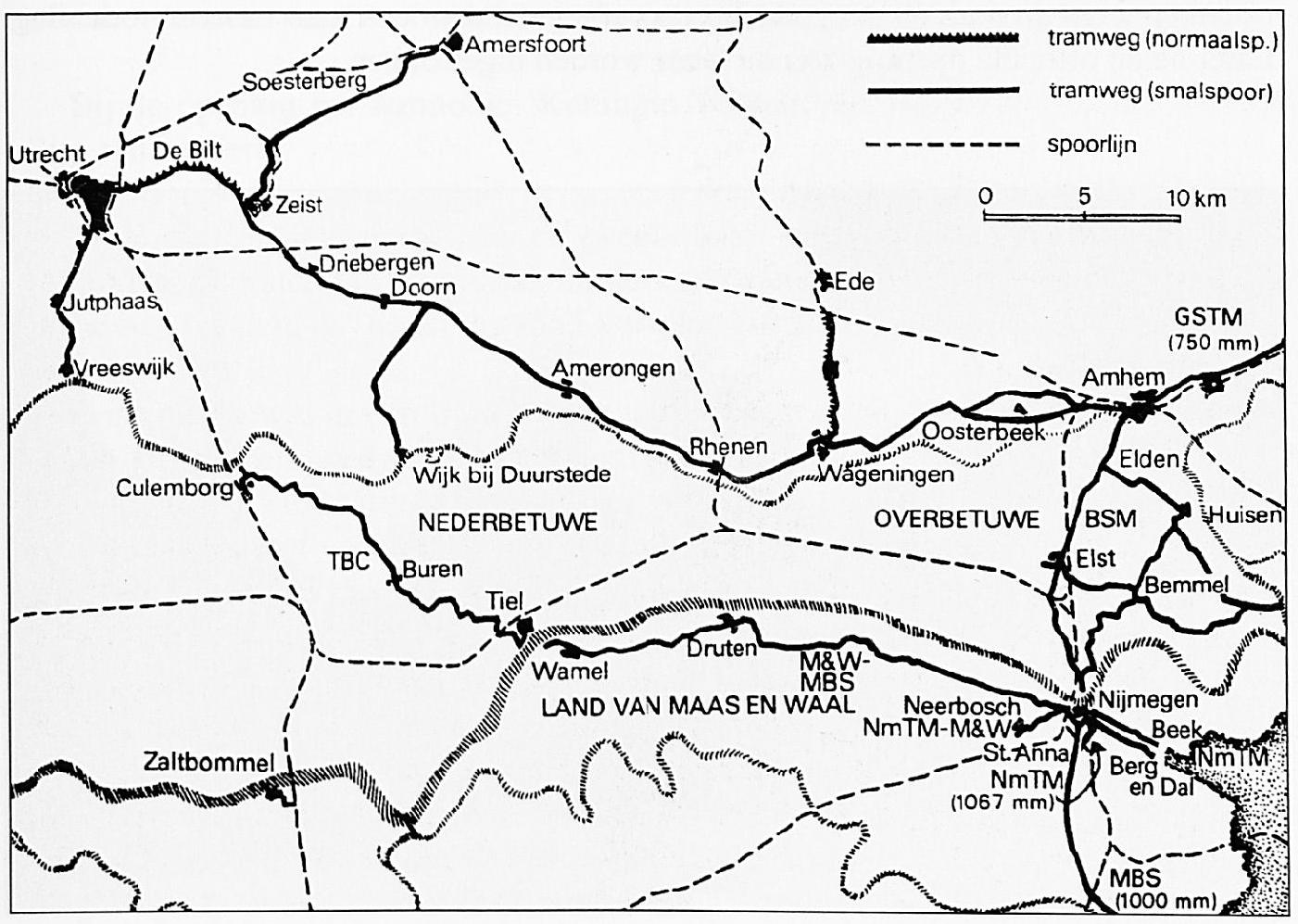 Een overzicht van de tram- en spoorwegen in Maas en Waal, de Betuwe en een deel van de provincie Utrecht, in het begin van deze eeuw.