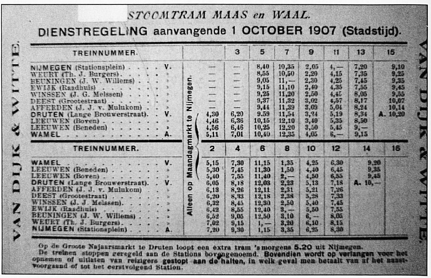 De Dienstregeling uit 1907.
