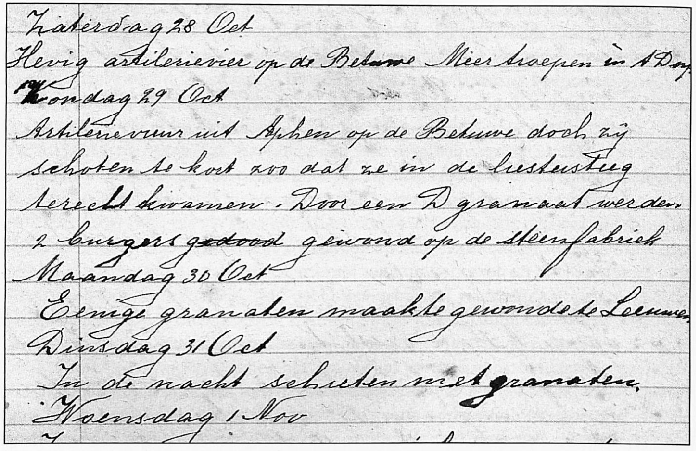 Een fragment uit het dagboek dat Grad van Dreumel tijdens de laatste periode van de Tweede Wereldoorlog bijhield.