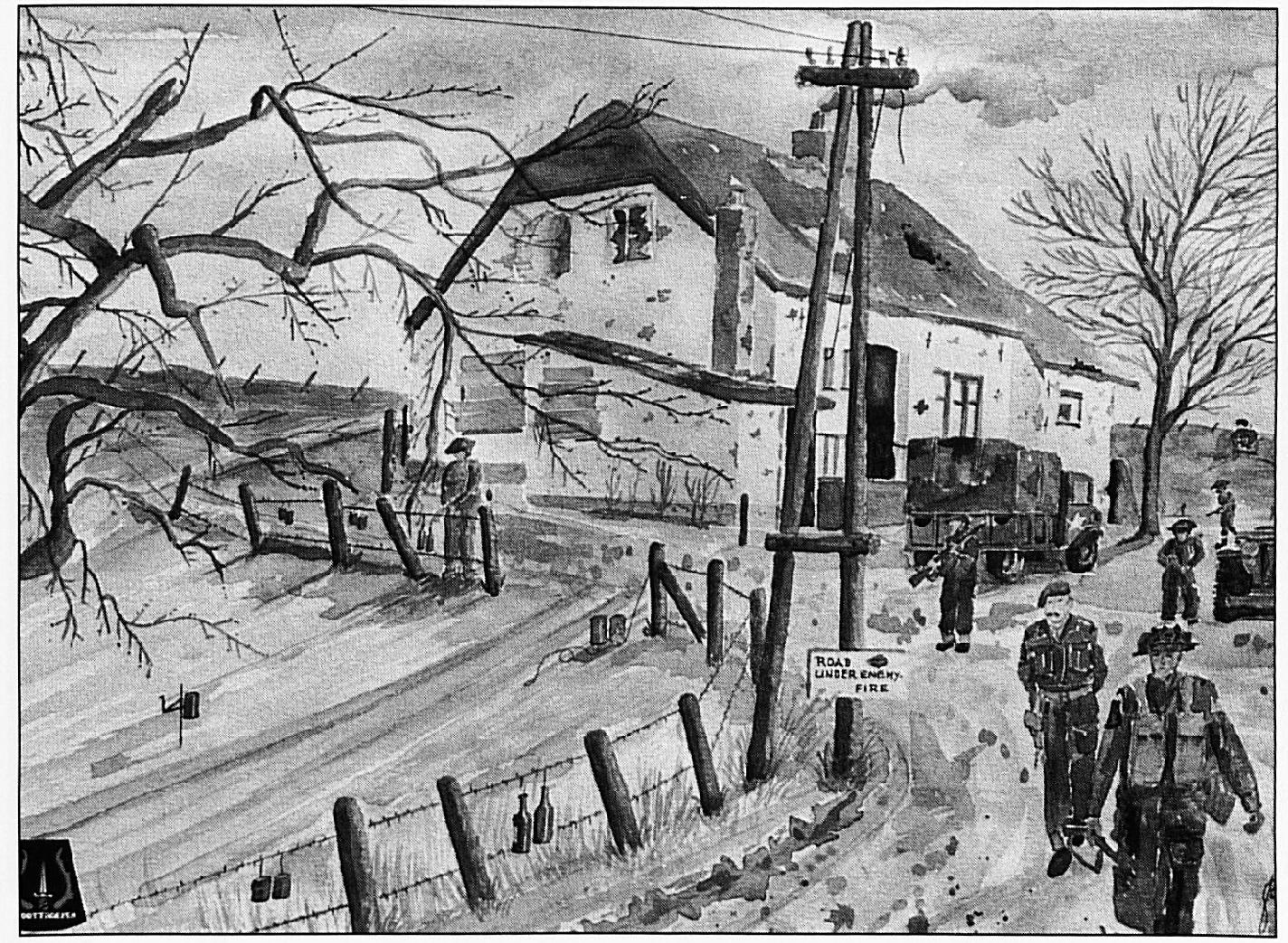 Het huis van de familie Van de Hurk aan de Waalbandijk tijdens de oorlog. Het schilderij werd gemaakt door Dhr. Bos, die lid was van de Binnenlandse Strijdkrachten en die in Wamel gelegerd was.