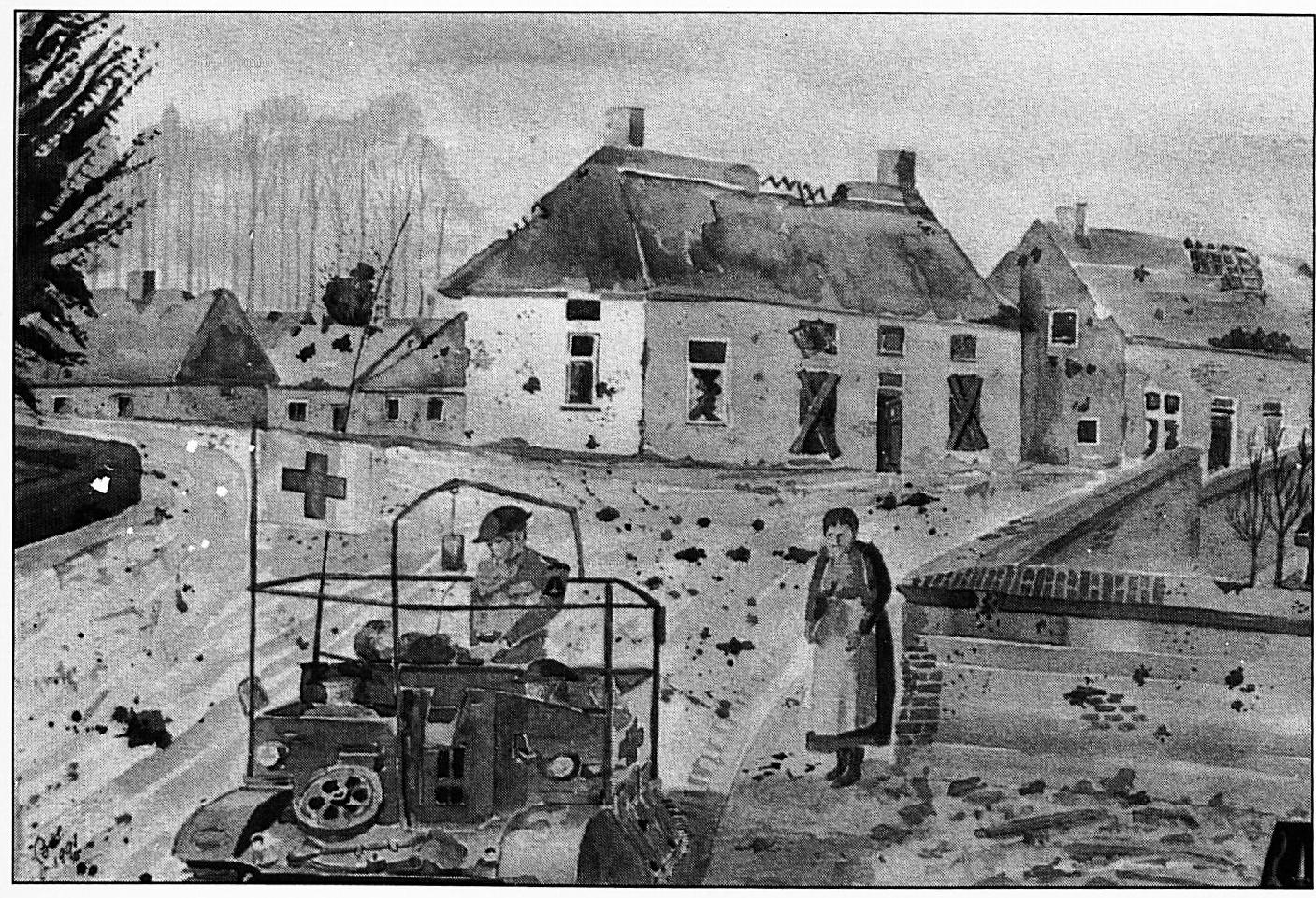 Deze aquarel van Dhr. Bos -oud strijder gelegerd te Wamel- brengt het vervoer van de zwaargewonde soldaat Harry van Ham in beeld, die naar een Canadees militair hospitaal wordt afgevoerd.