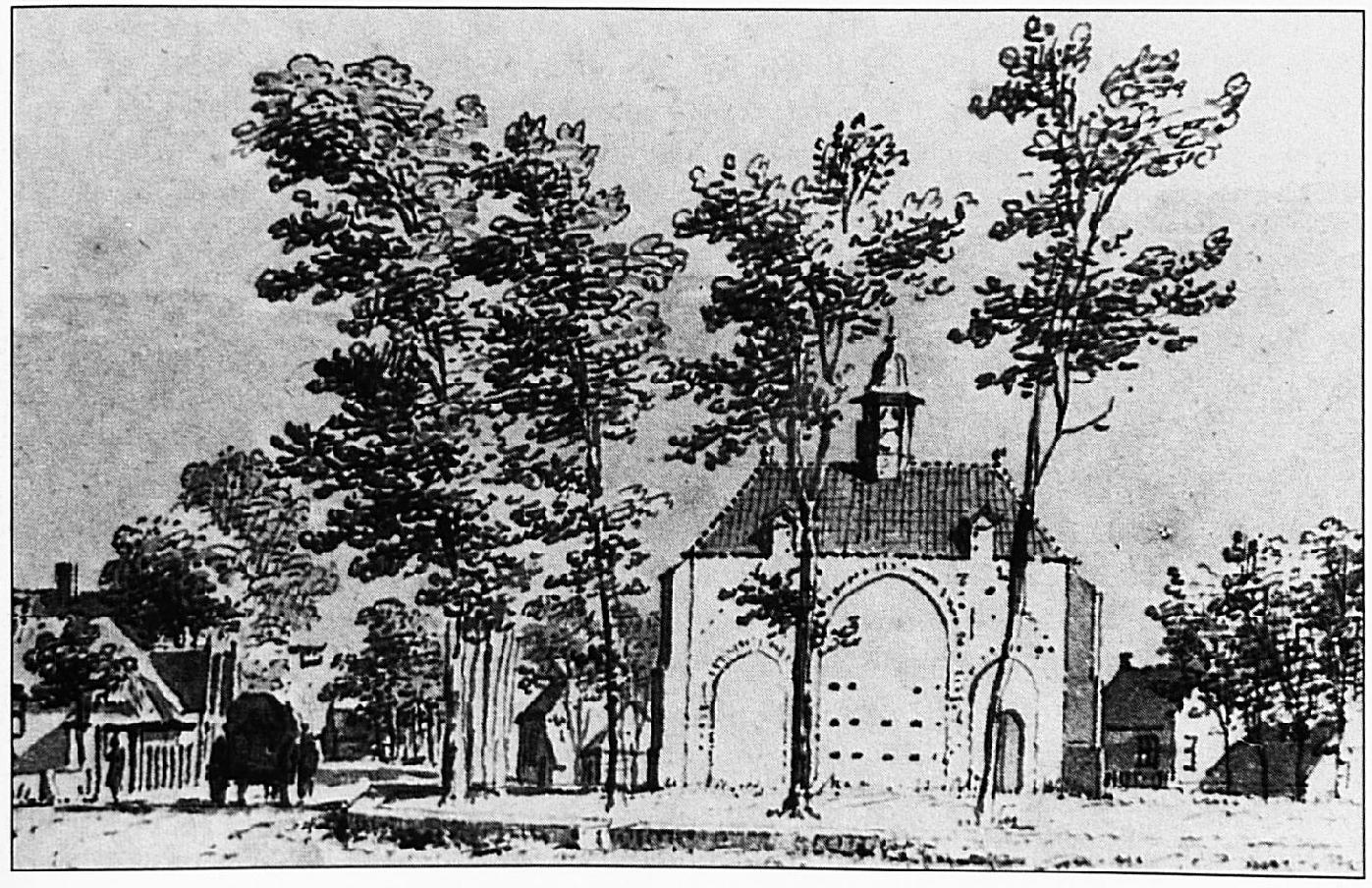 De Nederlands Hervormde kerk in 1732, getekend door C. Pronk.