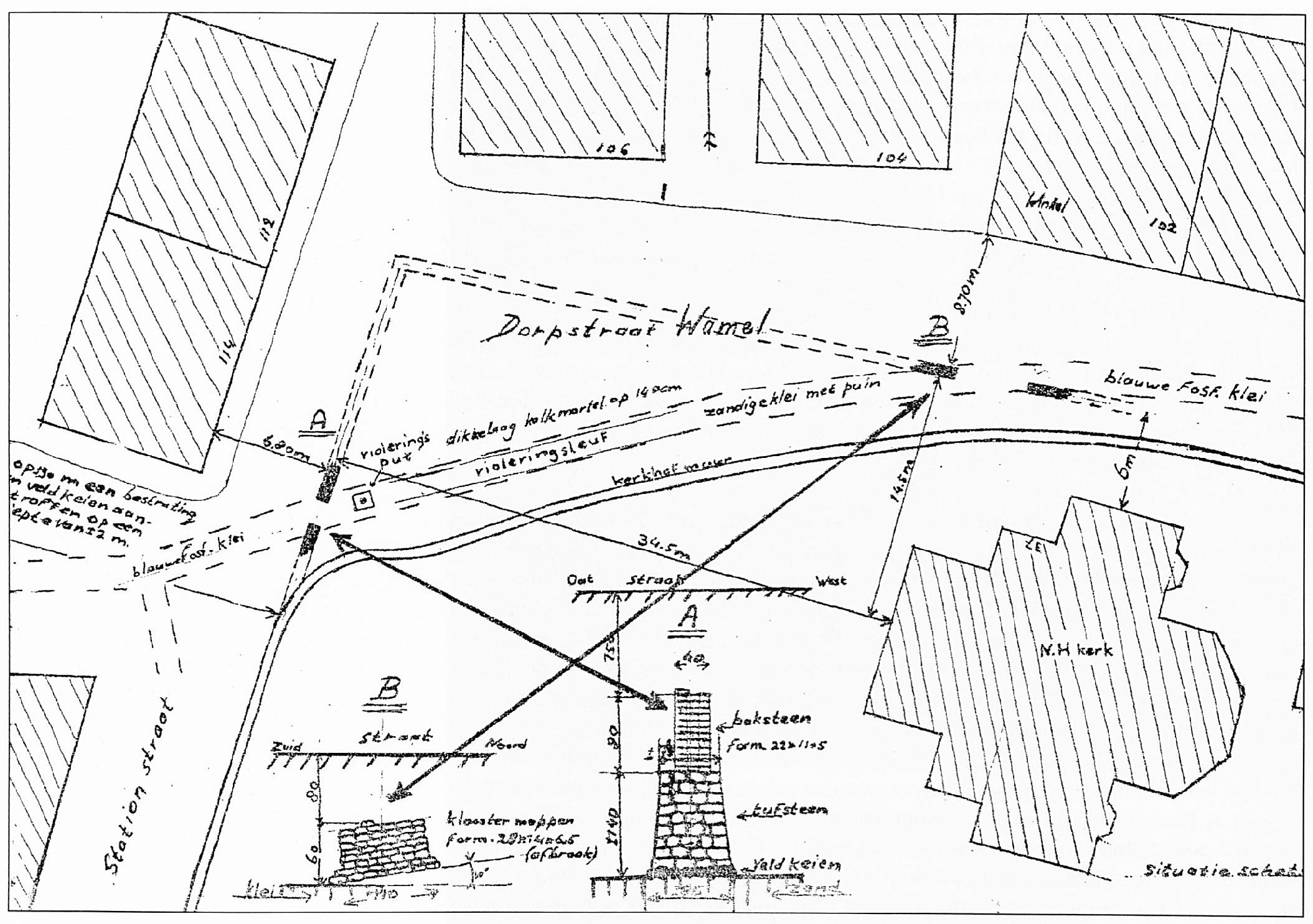 Een situatieschets van opgravingen in de omgeving van de Ned. Herv. Kerk. Hier krijgt men een goede indruk van de grote afmetingen van deze kerk, voordat het schip en de toren werden afgebroken.