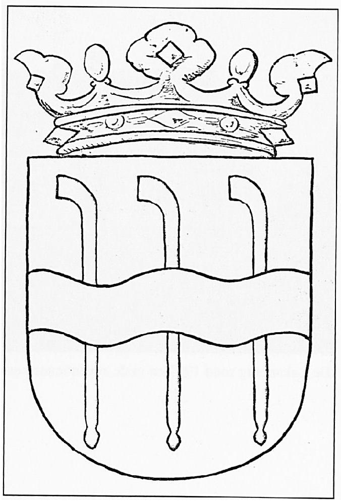 """Het wapen van de Gemeente Wamel, dat was afgeleid van het familiewapen van de Van Balverens, een oud adellijk Wamels geslacht. Officieel wordt het wapen als volgt omschreven: """"In zilver drie rechtop naast elkander geplaatste kolven van sabel, met het handvat omlaag en een golvende dwarsbalk van azuur, over alles heengaande. Het schild gedekt met een gouden kroon van drie bladeren en twee paarlen."""""""
