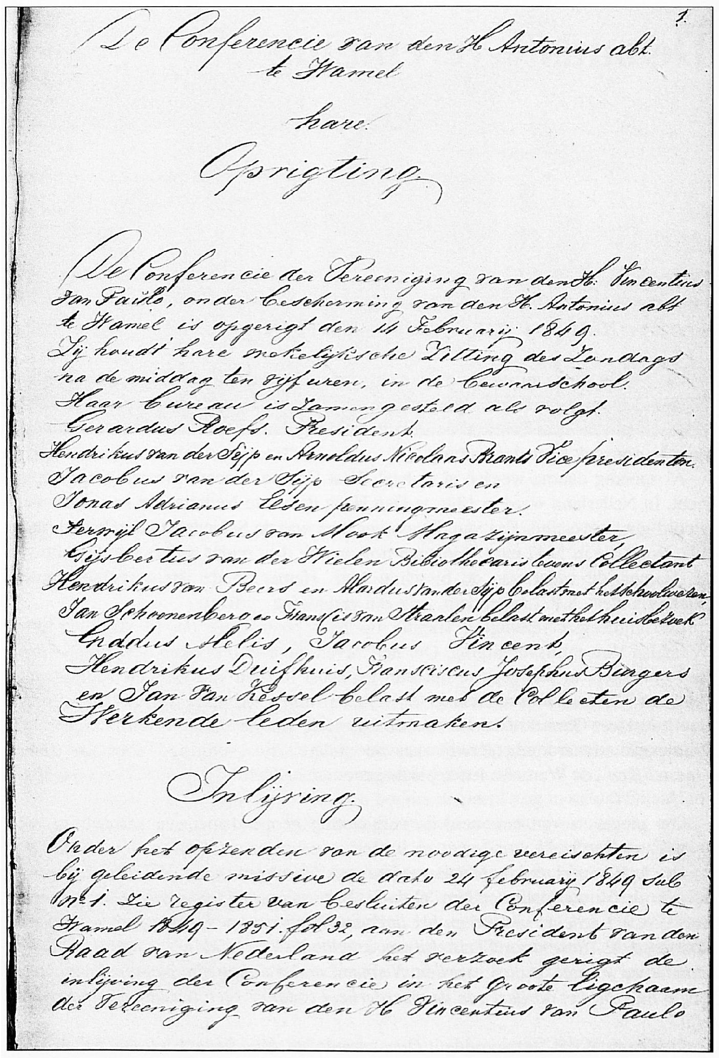 Een deel van het verslag van de oprichtingsvergadering van de Vincentiusvereniging.