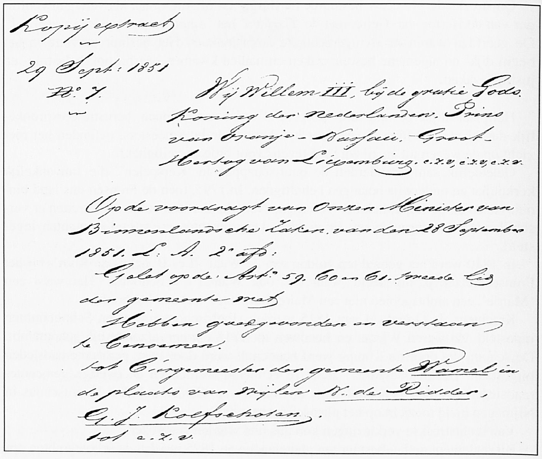 Een deel van de aanstellingsbrief van burgemeester Kolfschoten, die de overleden eerste burger De Ridder opvolgde.