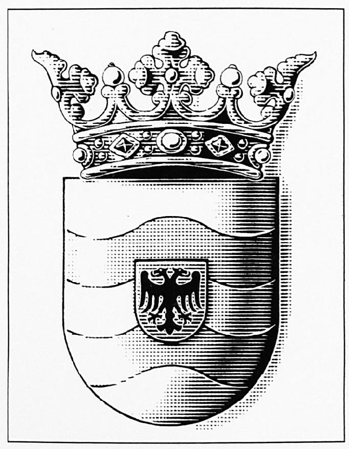 """Het nieuwe wapen van de gemeente West Maas en Waal, voorstellende: """"In zilver twee golvende"""