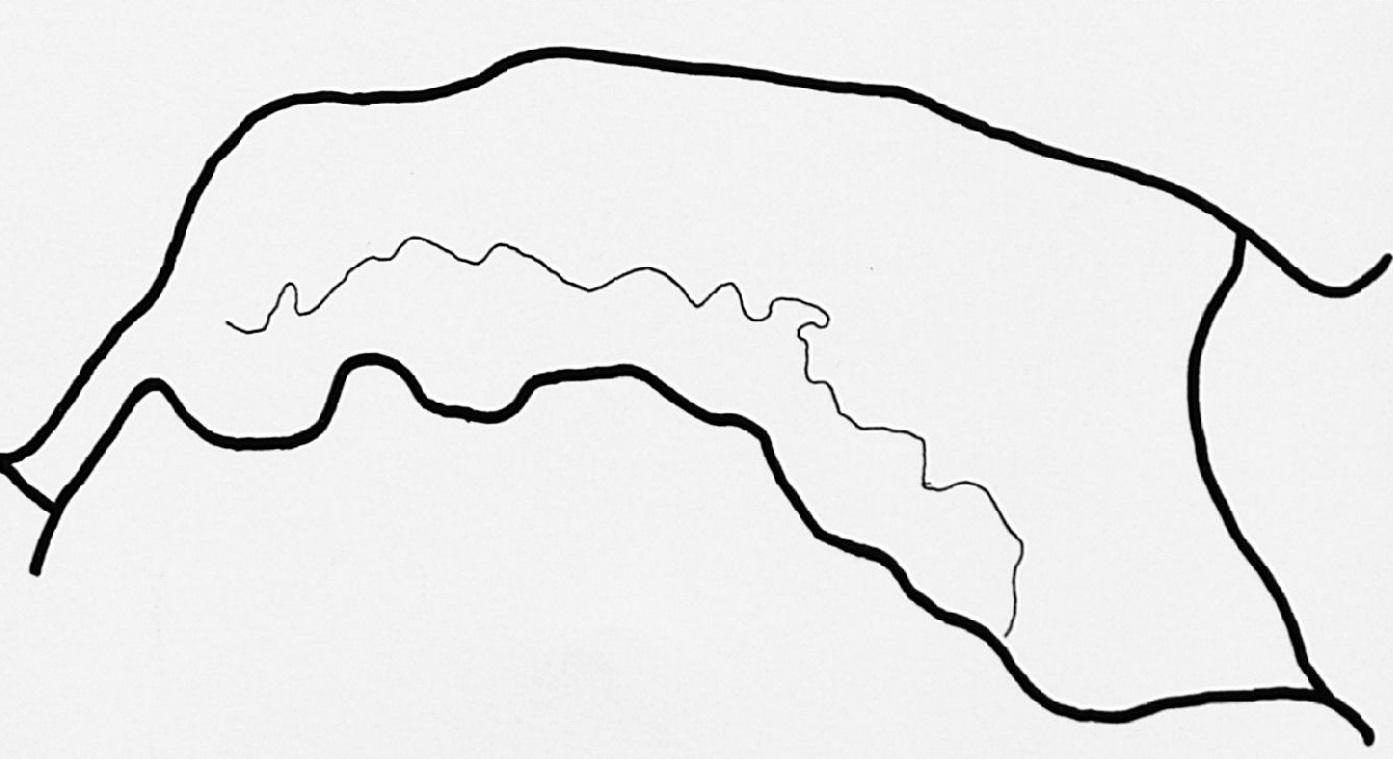 De loop van de Maasbedding die tot ongeveer het jaar 200 midden door Maas en Waal liep. De verzanding zette echter zo sterk door, dat de bedding uiteindelijk voor het grootste deel land werd.