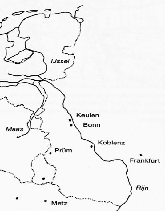 Deze kaart geeft goed aan, hoe verspreid de bezittingen van de Prümer Abdij lagen.