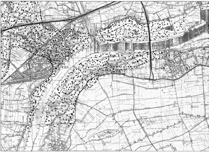 Een overzicht van de stroomafzettingen van de laatste 1500 jaar. Duidelijk is te zien dat in die periode de Waal ook voor Tiel langs gelopen moet hebben.