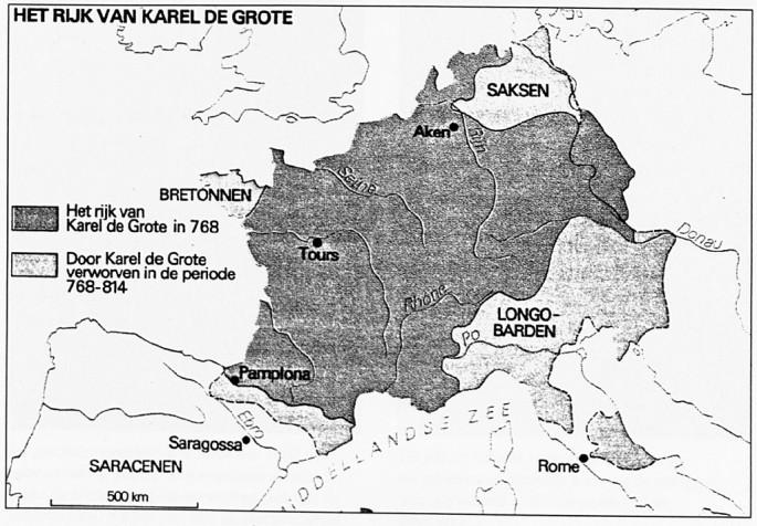 Het rijk van Karel de Grote rond het jaar 800.