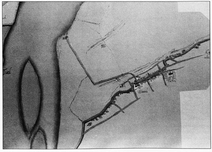 De oudst bekende kaart van Wamel, duidelijk zijn de wegen te herkennen die er toen reeds waren en die we nog steeds op dezelfde plaats terugvinden.