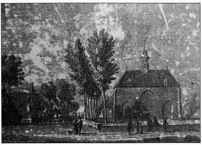 Op deze ets is goed te zien dat de Dorpsstraat steeds opnieuw verhoogd werd. De Dorpsstraat ligt hier namelijk nog op gelijke hoogte met het huidige kerkhof bij de Christelijke kerk.