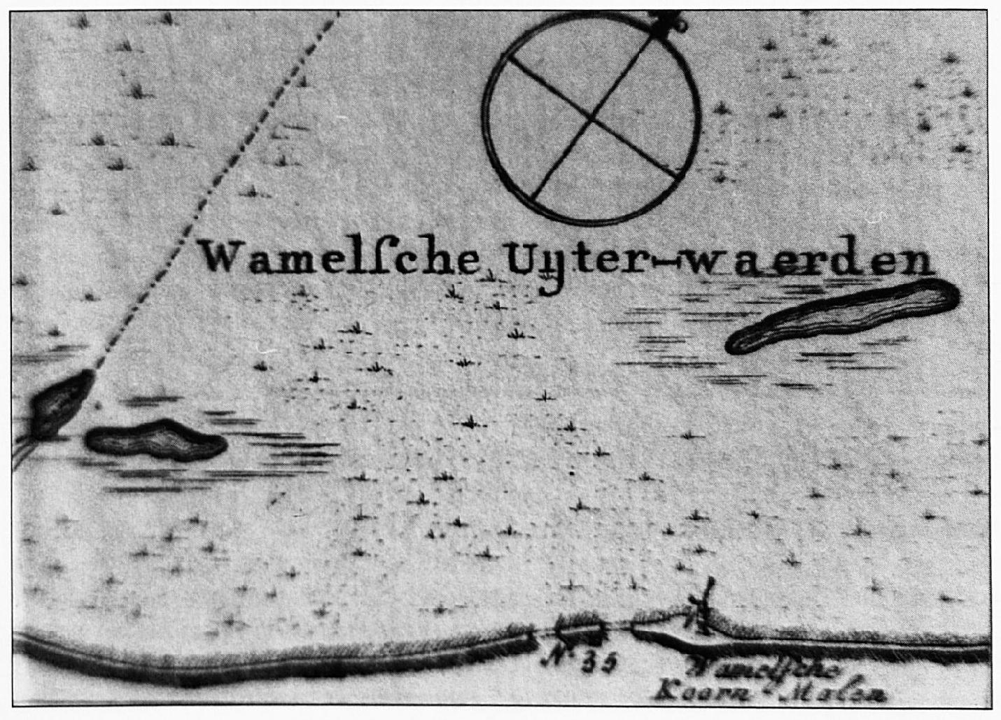 Op deze pentekening zijn de dijkdoorbraken van 1784 schitterend ingetekend. Bij deze doorbraken, o.a. vlak bij de Wamelse korenmolen, ontstonden geen Wielen.