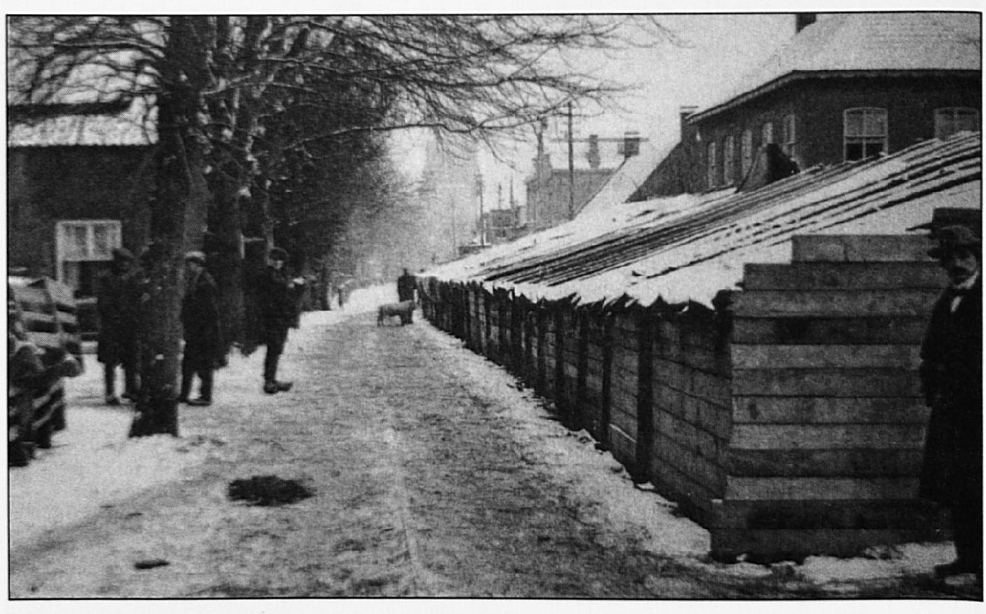 """Nadat de tent, die voor het vee op """"Den Bout"""" was opgesteld, bij het instorten van dit terrein vernield was, werd een nieuwe tent gebouwd in de Dorpsstraat."""