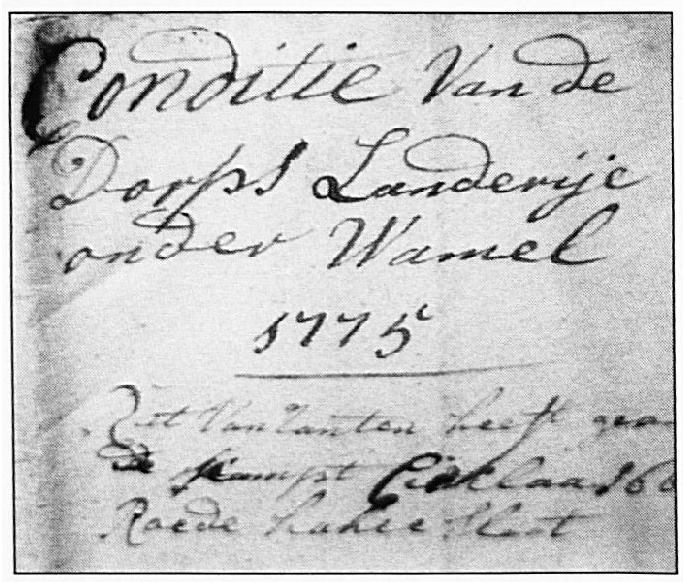 Een detail van het verpachtingsregister uit 1775.