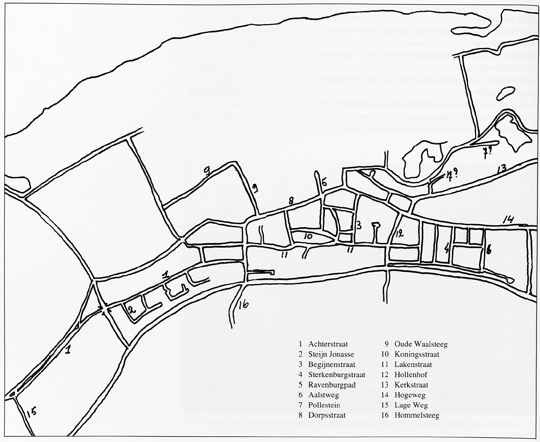 Aangegeven zijn de echt oude straatnamen en namen die beter bij een bepaalde straat gepast zouden hebben als uitgegaan was van de historische gegevens.