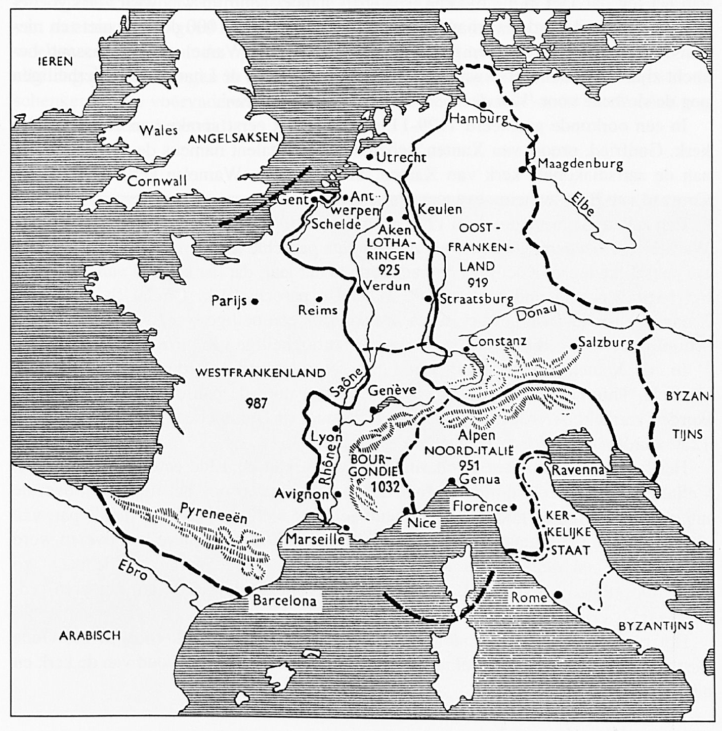 Op deze wijze werd het rijk van Karel de Grote, bij de Vrede van Verdun, in 843 verdeeld. De jaartallen geven aan tot wanneer de Karolingische vorsten over hun rijken regeerden.
