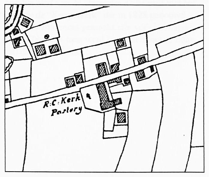 Op de kadastrale kaart uit 1821 zien we de schuurkerk en de pastorie in de Kerkstraat nog duidelijk aangegeven