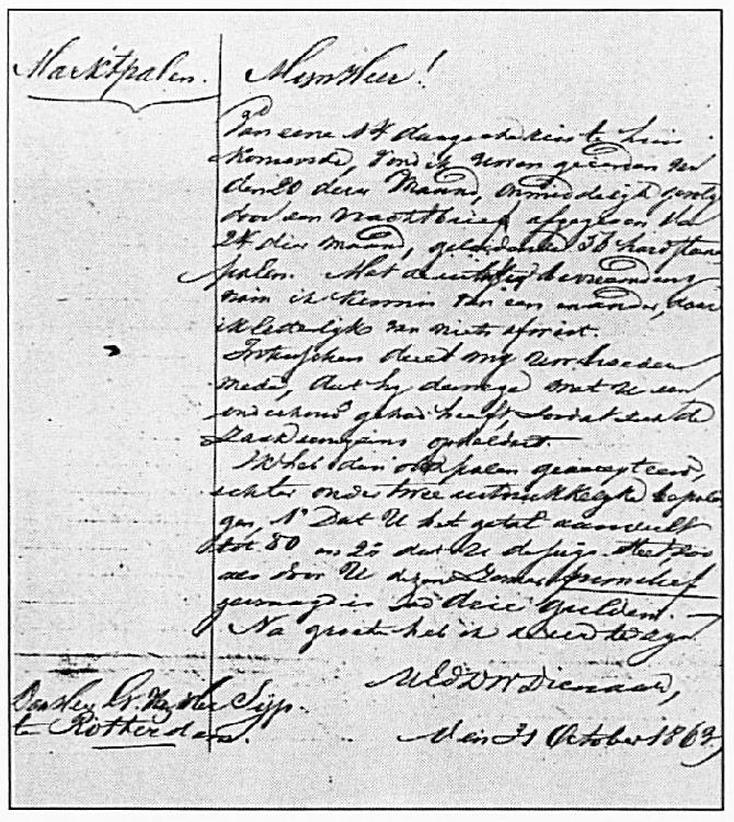 De brief die de Wamelse burgemeester op 18 oktober 1863 schreef aan de leverancier van de marktpalen. Deze leverancier was een broer van de wethouder Van der Sijp. Deze wethouder zou later burgemeester van Wamel worden.