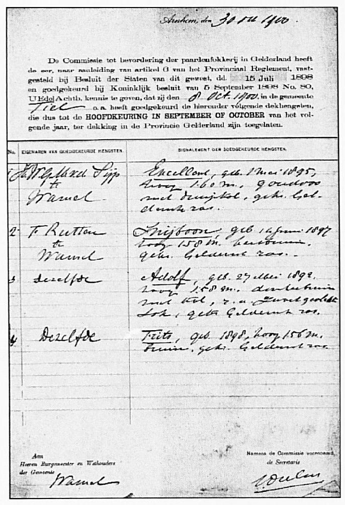 Een afschrift van de keuring van hengsten die in Tiel had plaatsgevonden op 8 oktober 1900. De gekeurde paarden zijn Encelland of Encellens van H. v.d. Sijp en Snijboon, Adolf en Frits van de heer F. Rutten.