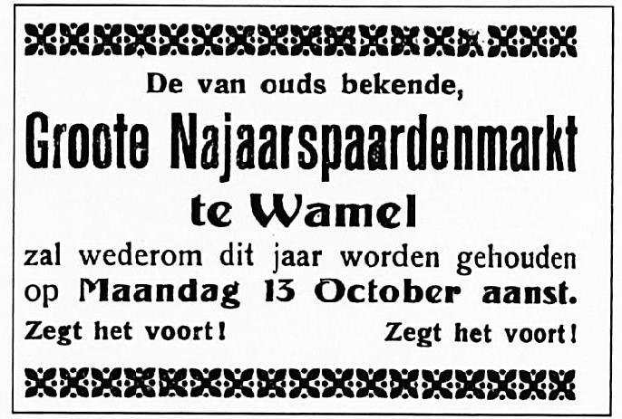 De reclame die Wamel voor zijn markt maakte...