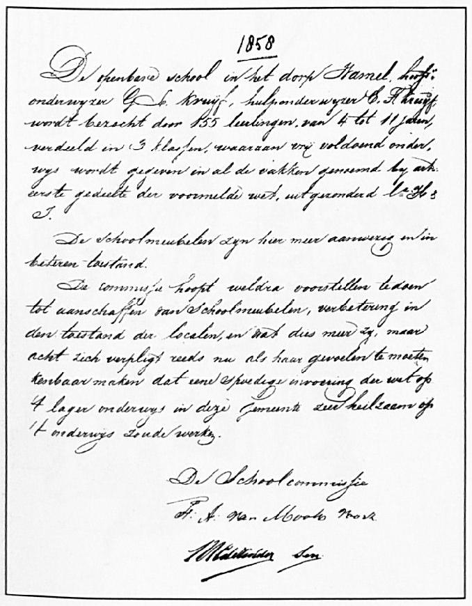Een fragment van het verslag dat de schoolcommisie uitbracht in1858.